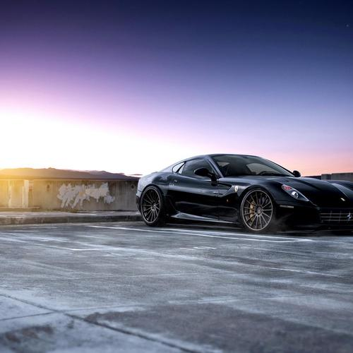 Black Ferrari 599 on the roof