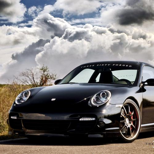 Black Porsche 997 tt forged wheels wallpaper