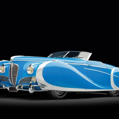 Blauwe Delahaye 175 Roadster behang