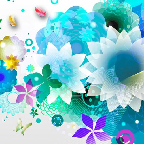 Blue flower abstraction wallpaper
