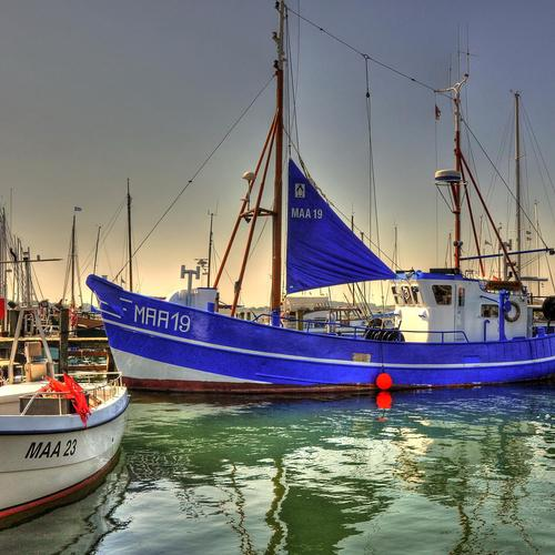 Blue sailboat docked Hdr wallpaper