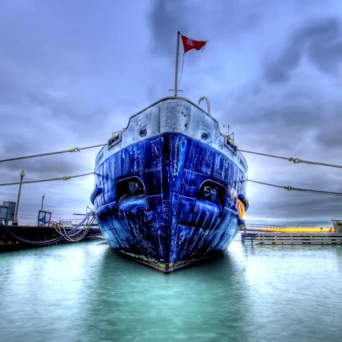 Download Blue ship at the port hdr High quality wallpaper
