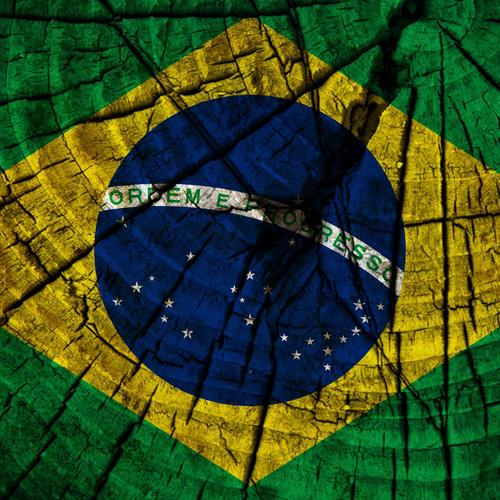 Brazil flag on wood