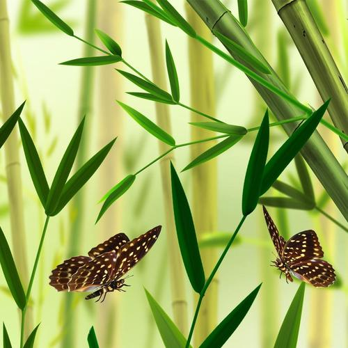 Butterfly and bamboo vector