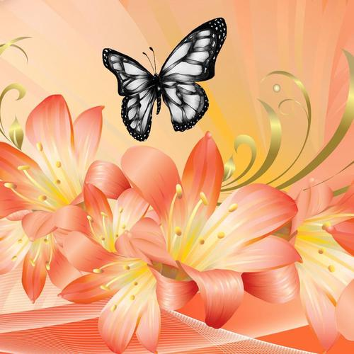 Butterfly and lily vector wallpaper