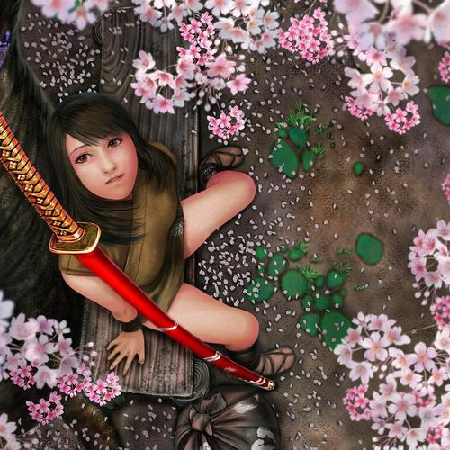 Butterfly on katana sword of samurai girl wallpaper