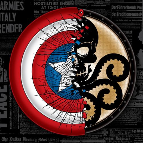 Captain America vs Hydra schild behang