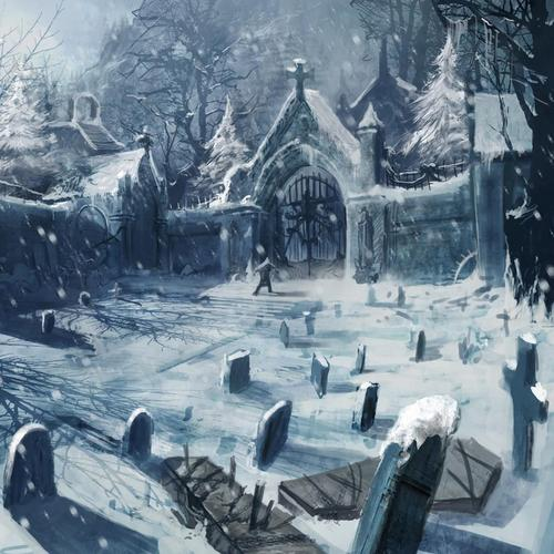 Cemetery in winter wallpaper