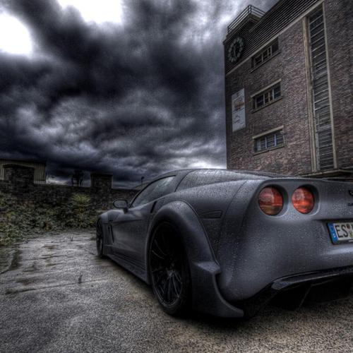 Chevy Corvette Parked In The Rain Hdr wallpaper