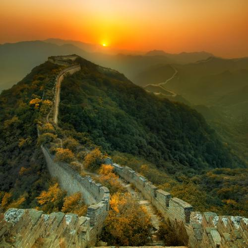 China Great Wall on sunset