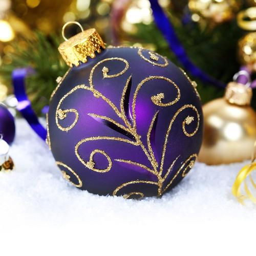 Christmas Balls Purple Snow New Year