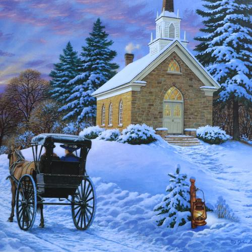 Church in winter painting