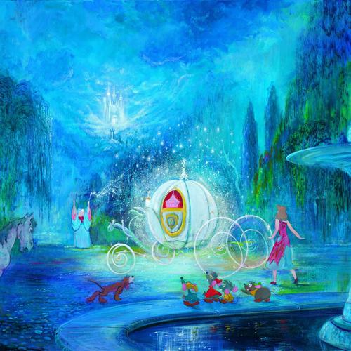 Cinderella princess painting wallpaper
