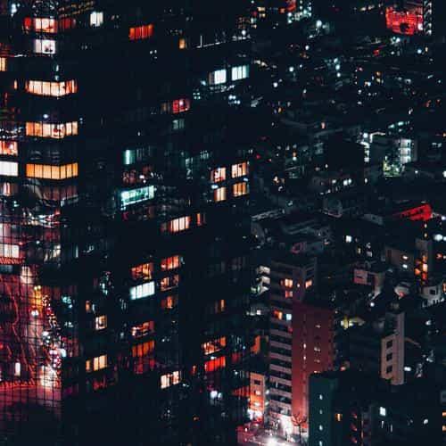 city night lights building pattern red