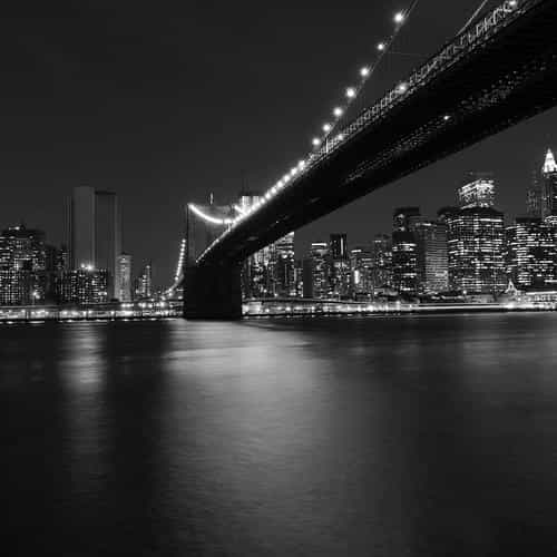 city night river view nature dark bw black
