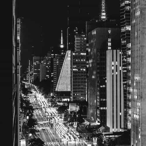 city night view urban street bw dark