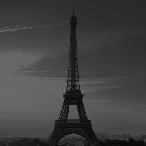 city of love paris eiffel tower france black and white