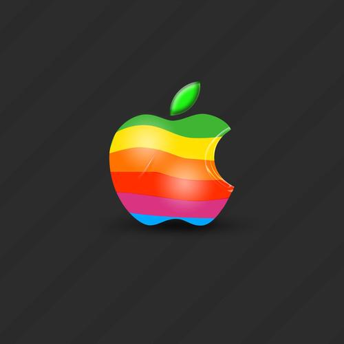 Colorful 3d apple logo wallpaper