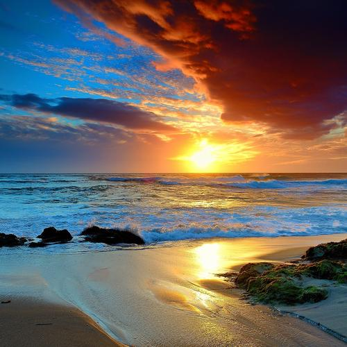 Colorful beach in sunset