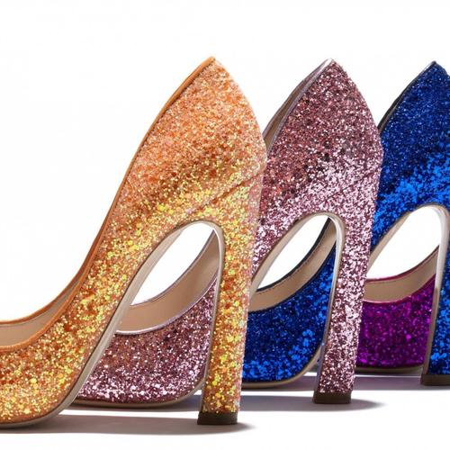 Colorful glitter on high heels