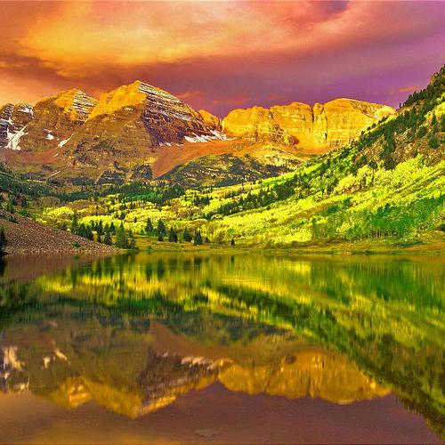 Colorful landscape reflection wallpaper
