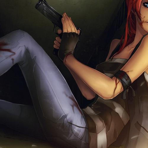 Cool anime girl with gun