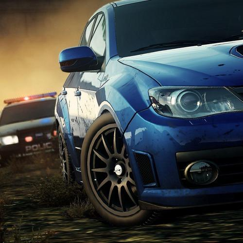 Cop chase Subaru car at the offroad
