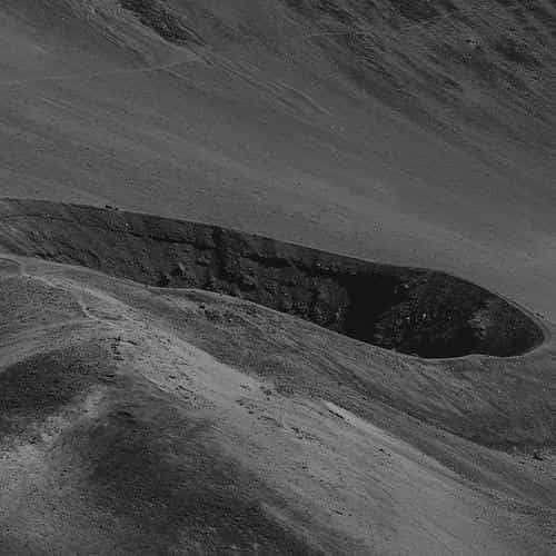 crater mountain dark bw nature