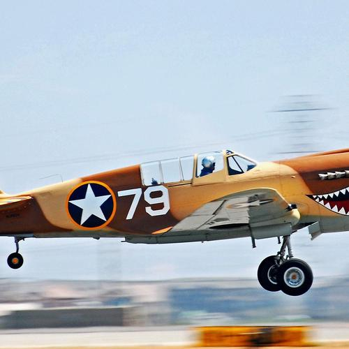 Curtis P 40 aircraft taking off