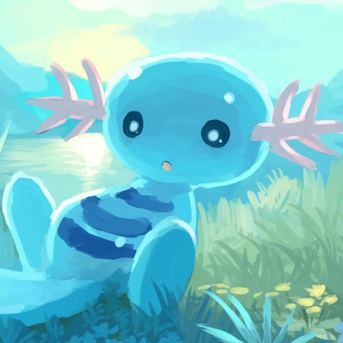 Cute blue creature painting wallpaper