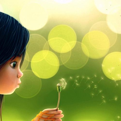 Cute cartoon girl blowing dandelion