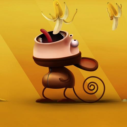 Cute cartoon monkey eating banana wallpaper