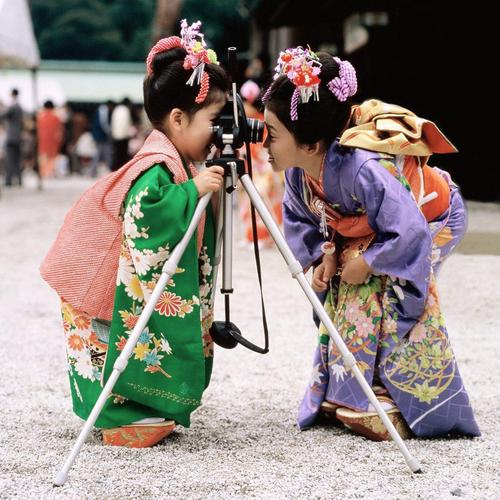 Cute Chinese Child Girls with Camera