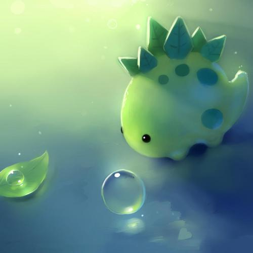 Cute green dinosaur wallpaper