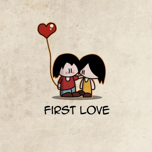 Cute love couple and heart balloons wallpaper