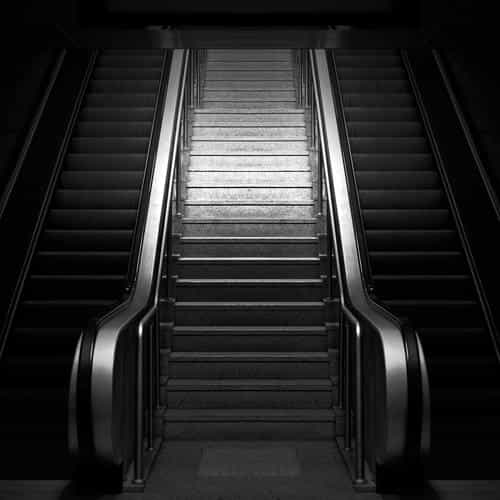 dark stairs art bw