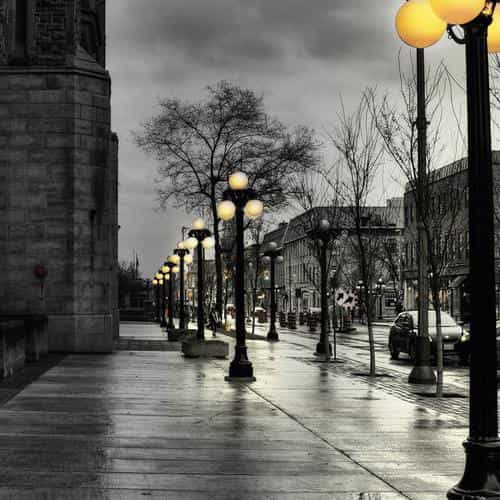 dark street with lamps