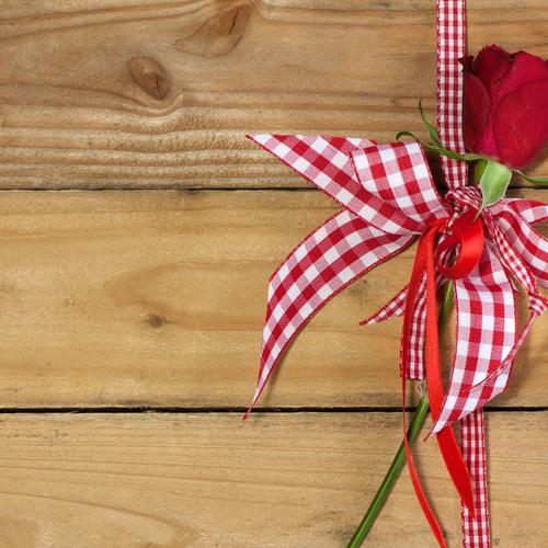 Decorations on Wooden Table with rose