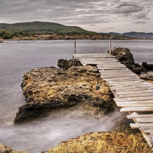 Dock at Sant Carles Ibiza Spain wallpaper