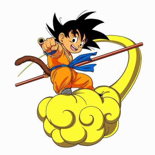dragonball goku cloud fly anime art illust white