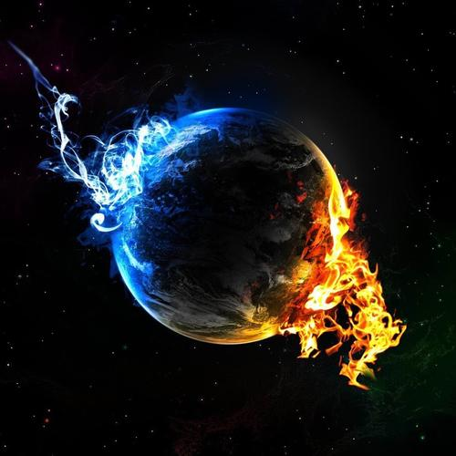Earth with fire and ice wallpaper