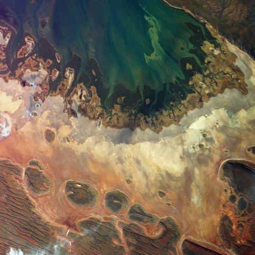 earthview satellite map sea red land art illustration