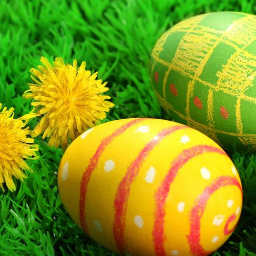 Easter eggs on grass wallpaper