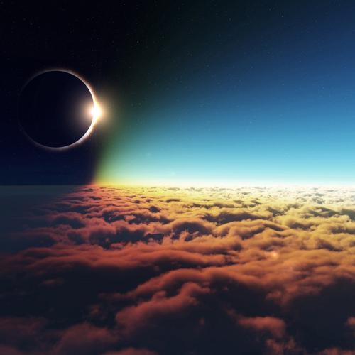 Eclipse above the clouds wallpaper