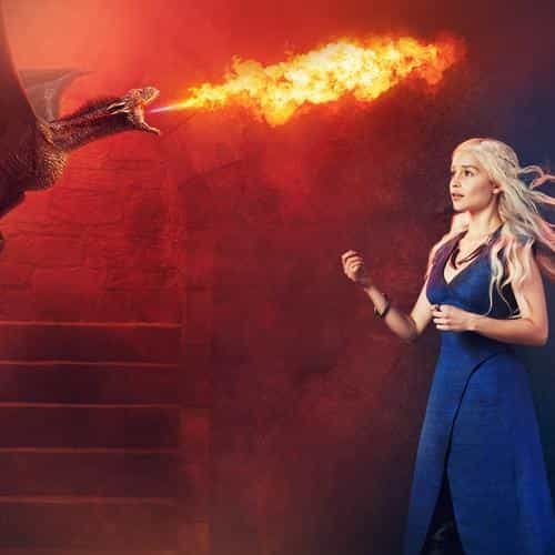 emilia clarke game of thrones fire dragon