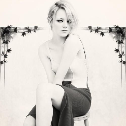 Emma Stone black and white