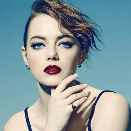 emma stone blue red lips girl actress