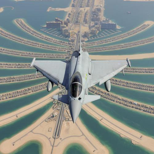 Eurofighter typhoon over Dubai wallpaper