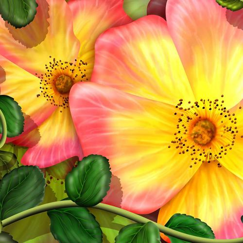 Exotic flowers vector wallpaper