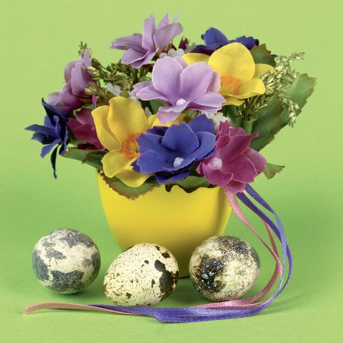 Fabric flowers and Easter Eggs. wallpaper